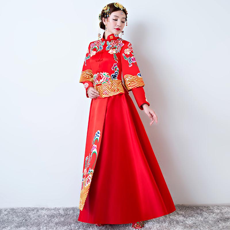 中式秀禾服新娘新款复古婚纱礼服中国风敬酒服旗袍红色女结婚