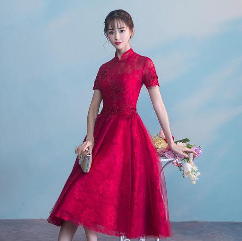2017新款冬季复古立领结婚回门红色晚礼服女显瘦中长