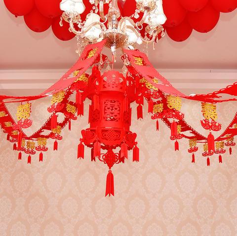l81 创意婚房布置用品婚庆用品绒布喜字灯笼立体无纺布镂空宫图片