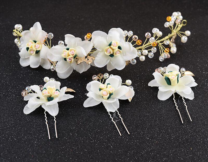 新娘手工头饰韩式合金树叶花片白色软陶发饰 盘发配饰