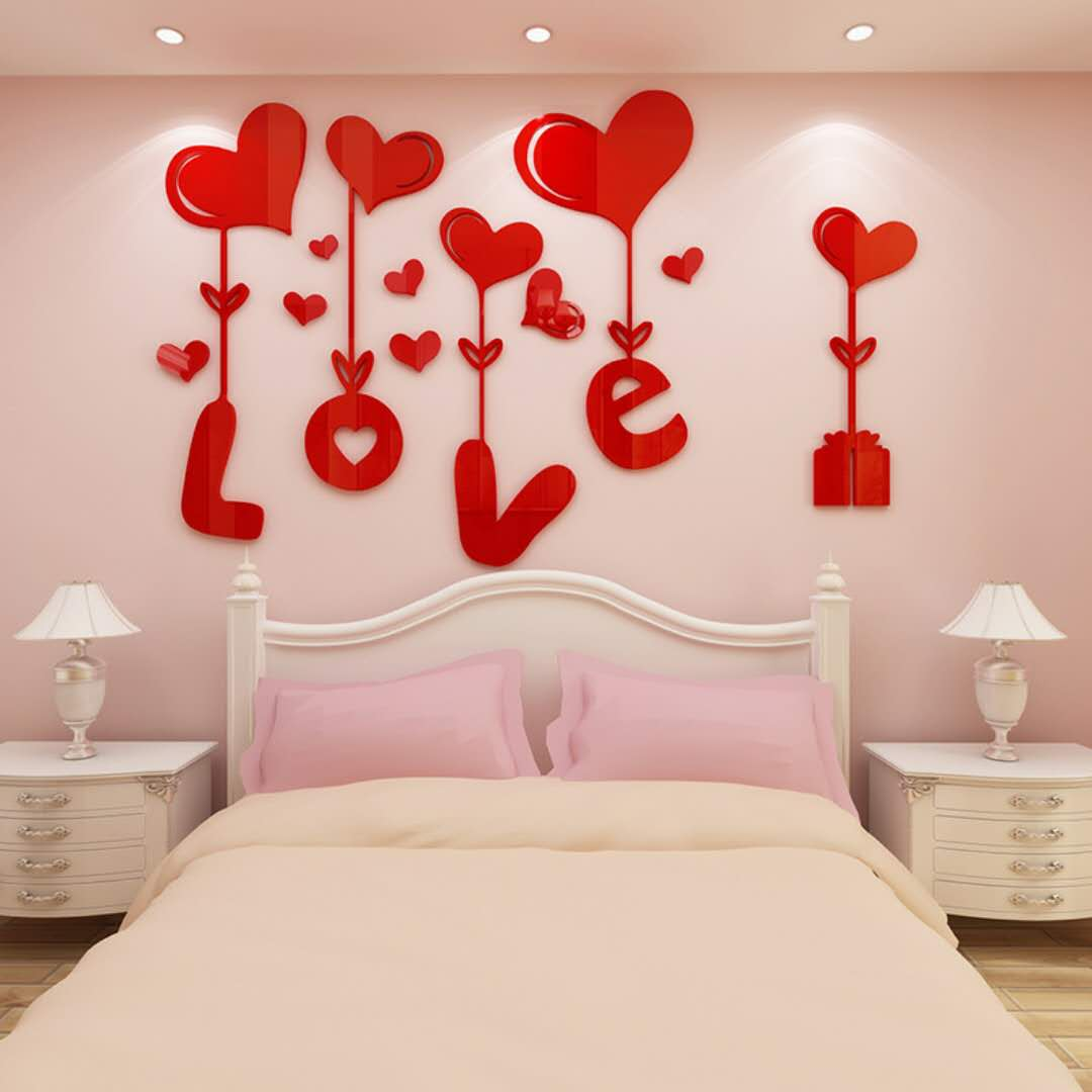 love爱心立体墙贴画客厅卧室床头沙发墙温馨装饰贴纸 墙贴