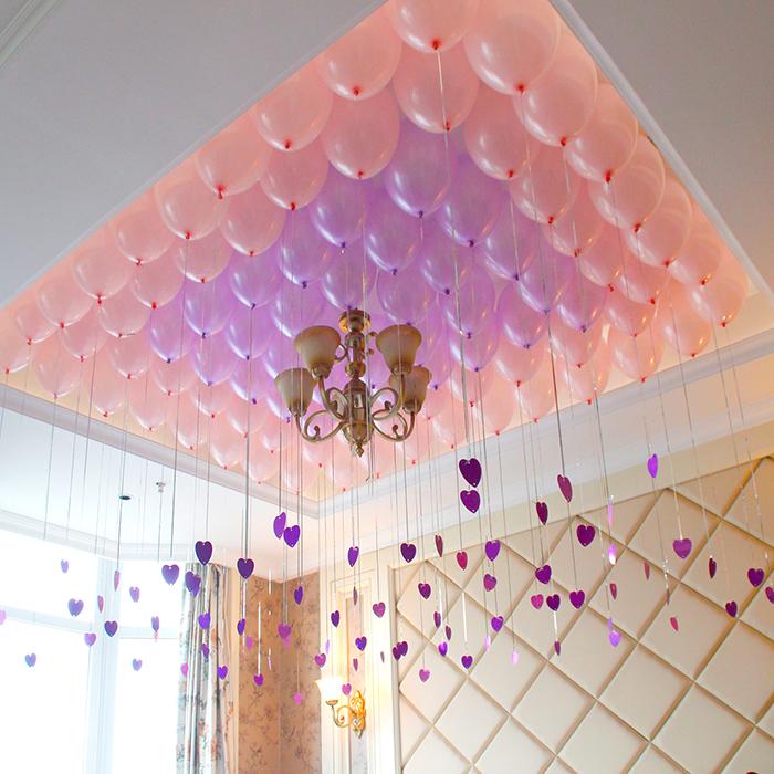 加厚雨丝吊坠气球婚礼珠光气球生日派对布置婚房装饰图片
