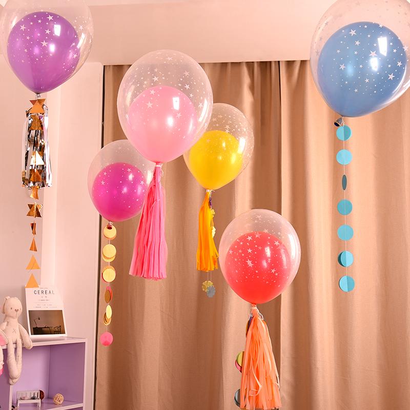 婚房布置球中球 创意印花双层气球