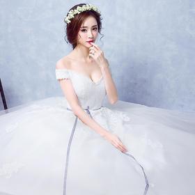 孕妇可穿 新款婚纱 修身显瘦!新款韩式新娘修身一字肩齐地