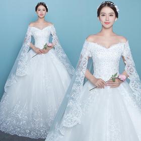 一字肩 修身显瘦 蕾丝魅惑!新款韩式新娘结婚修身大码显瘦