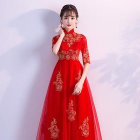 高腰设计!敬酒服新娘旗袍 新款高腰红色结婚礼服孕妇大码