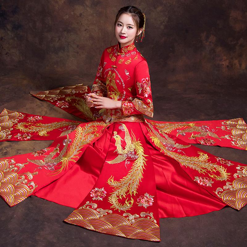 秀禾服新款龙凤褂结婚敬酒服古代婚纱嫁衣秀和服新娘图片