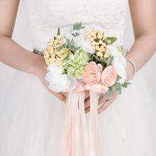手捧花 婚庆新娘手捧花结婚仿真玫瑰手工花球婚纱照道具