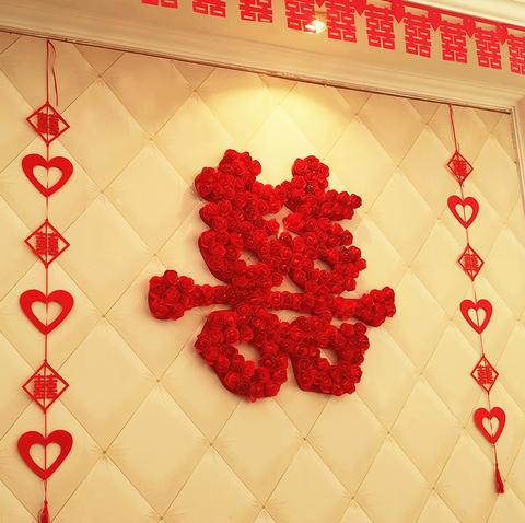 创意结婚喜字大门婚房装饰用品大小号喜字贴纸门贴墙红双喜子窗花