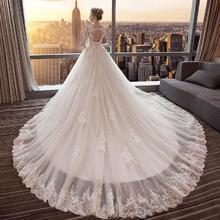 爆款婚纱!婚纱礼服一字肩V领显瘦公主大码齐地拖尾
