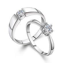 一对价!买就送盒子!男女情侣戒指一对结婚对戒仿真开口可调节