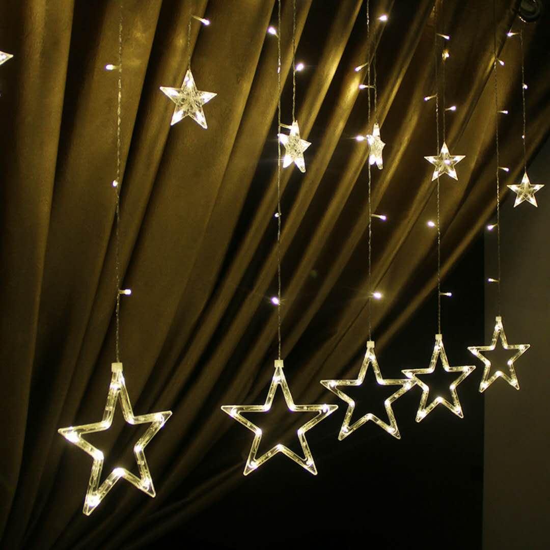 led彩灯星星灯节日窗帘灯圣诞灯串婚庆房间装饰灯五角星洗墙灯