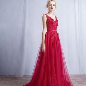 新款冬季红色蕾丝双肩V领修身显瘦宴会新娘敬酒服长款871