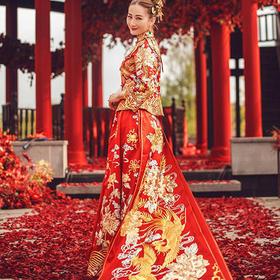 中式礼服嫁衣旗袍敬酒服龙凤褂拖尾秀禾服新娘礼服705