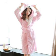 保暖新娘晨袍加厚珊瑚卡通小熊绑带睡袍珊瑚浴衣女性法兰绒