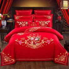 卿卿我我婚庆四件套大红全棉刺绣新婚床品结婚六八十件套纯棉绣花