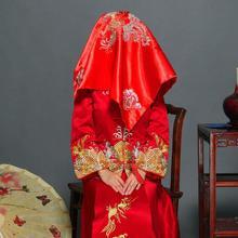 结婚大红盖头纱绸缎秀禾服头饰传统结婚饰品红盖头新娘盖头纱蕾丝