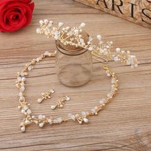 韩式新娘项链三件套金色结婚头饰项链耳环婚纱礼服简约风格