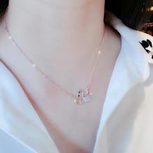 日韩 天鹅玫瑰金锁骨链 欧美女短款项链 简约甜美气质百搭配饰