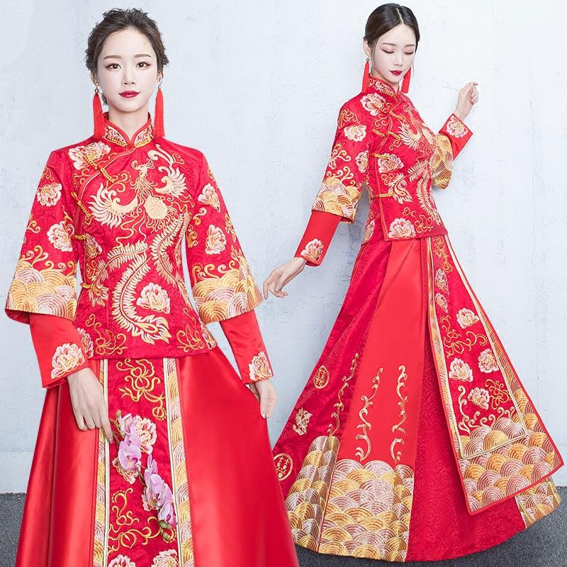 秀禾服新款新娘中式礼服嫁衣敬酒_发型设计