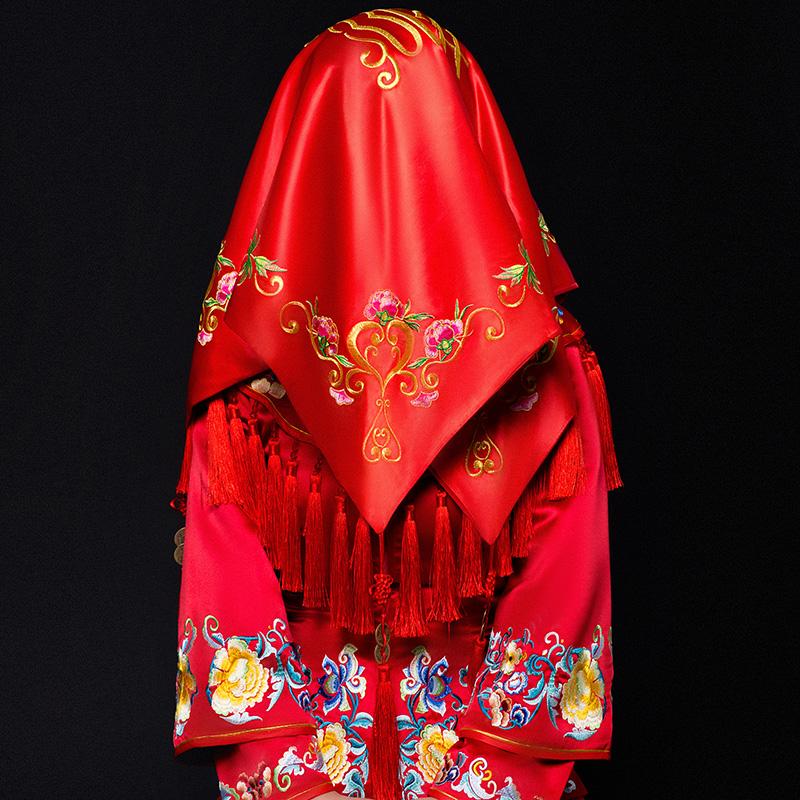 绸缎红盖头新娘中式婚礼刺绣花喜字盖头纱结婚庆旗袍