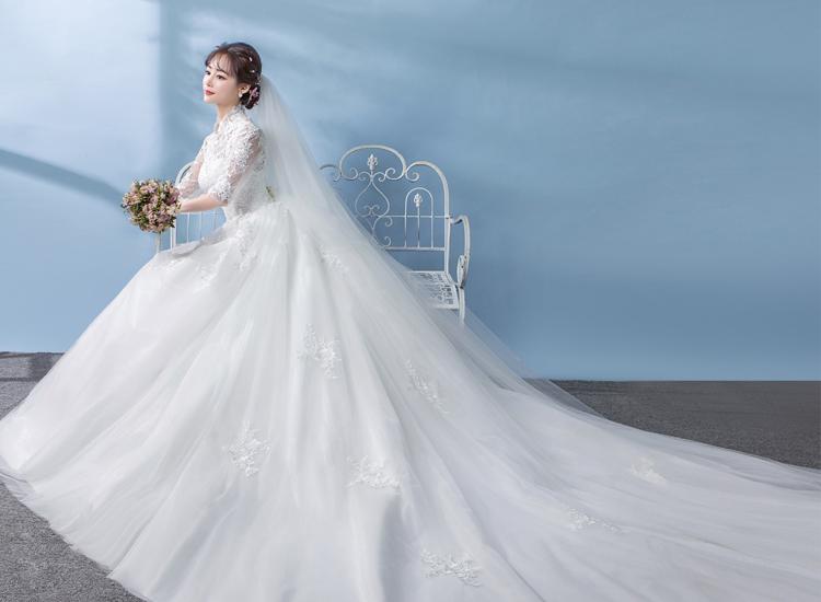 复古春夏蕾丝立领中袖婚纱