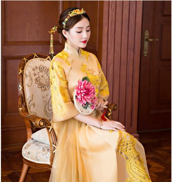 新娘秀禾服新款秋冬季金色敬酒服中式礼服旗袍结婚嫁衣