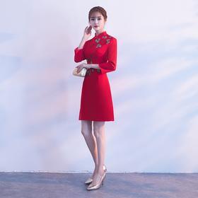 敬酒服旗袍 秋季新款新娘中式结婚礼服短款连衣裙中国风