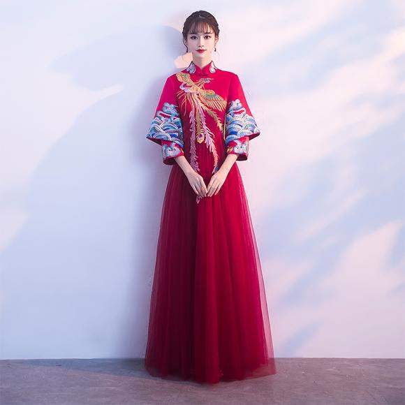 秀禾服新娘新款孕妇高腰中式结婚礼服红色旗袍女长袖敬酒冬季