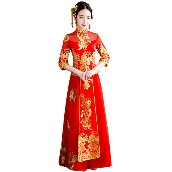 秀禾服新娘礼服嫁衣 新款龙凤褂中式婚纱礼服古装敬酒服