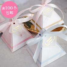 原创婚庆大理石烫金欧式结婚节庆用品三角喜糖盒糖果盒子伴手礼物