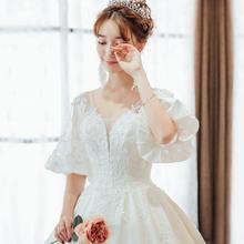 公主范十足!婚纱礼服新款新娘结婚拖尾宫廷公主梦幻
