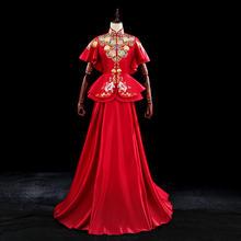 改良版中式秀和嫁衣 古典牡丹刺绣收腰显瘦裙褂 送头饰