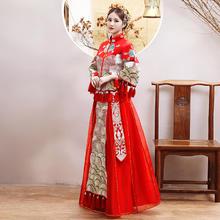 新款秀禾服!对襟款加密刺绣中式嫁衣 蓬蓬纱裙