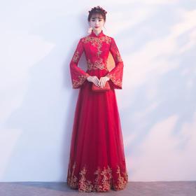显瘦优雅!新款冬季长款回门中式旗袍晚礼服结婚宴会长袖