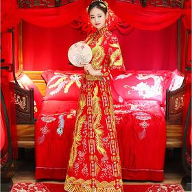秀禾服新娘 秋冬新款中式嫁衣结婚敬酒服红色对凤龙凤褂