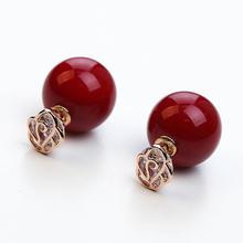 【满66包邮】结婚红色珍珠耳钉新娘s925银针耳饰