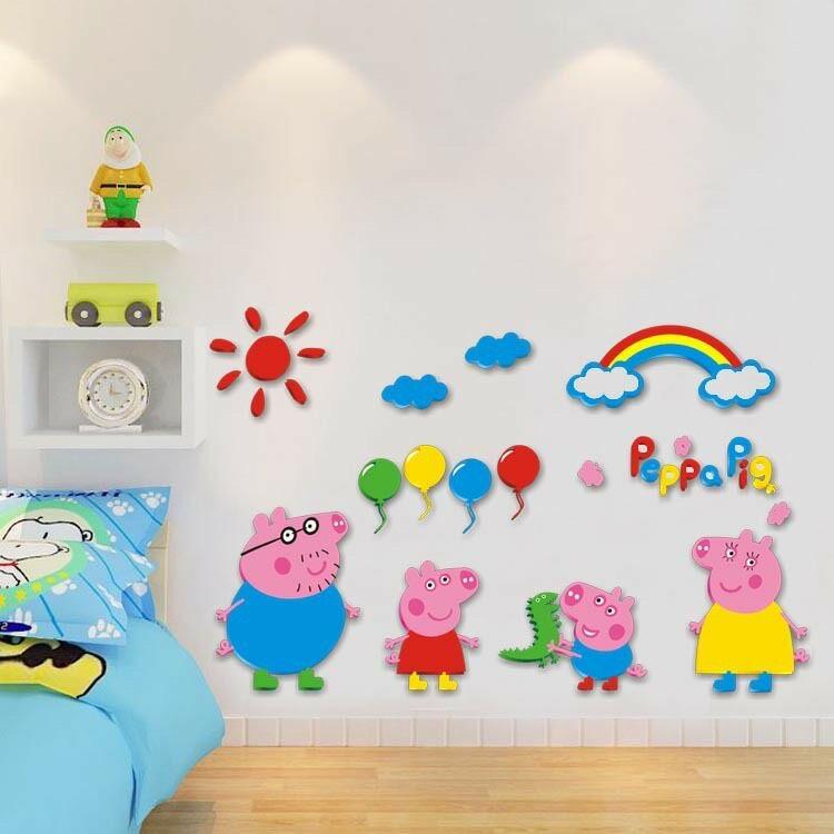 小猪佩奇一家人墙贴亚克力3d立体儿童房卧室幼儿园背景墙装饰贴