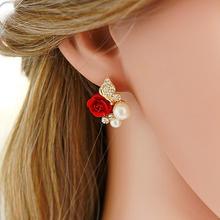 夏拉韩式耳环时尚女韩国耳钉气质韩版女精灵耳饰新娘红色玫瑰耳钉