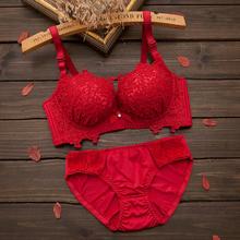 【送内裤】文胸套装性感蕾丝聚拢无钢圈内衣少女女士加厚小胸胸罩