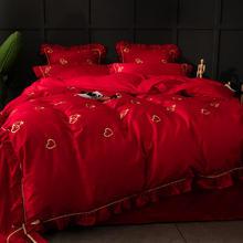 60s全棉长绒棉贡缎四件套大红色公主风双人纯棉婚庆刺绣床上用