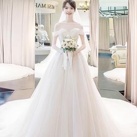 结婚韩版长拖尾公主齐地一字肩婚纱礼服