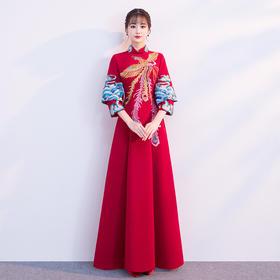 新娘中式敬酒服 新款冬季长袖红色晚礼服女中国风结婚修身