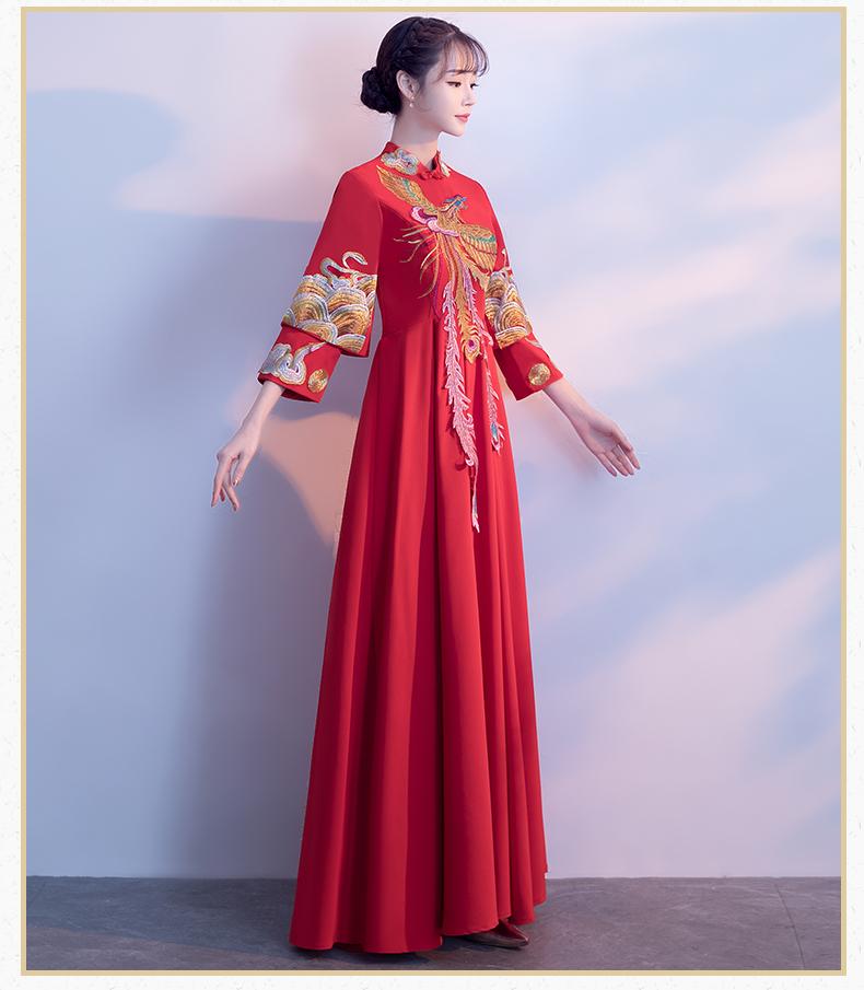 秀禾服冬季2017新款红色孕妇大码中式结婚古装新娘嫁衣旗袍长