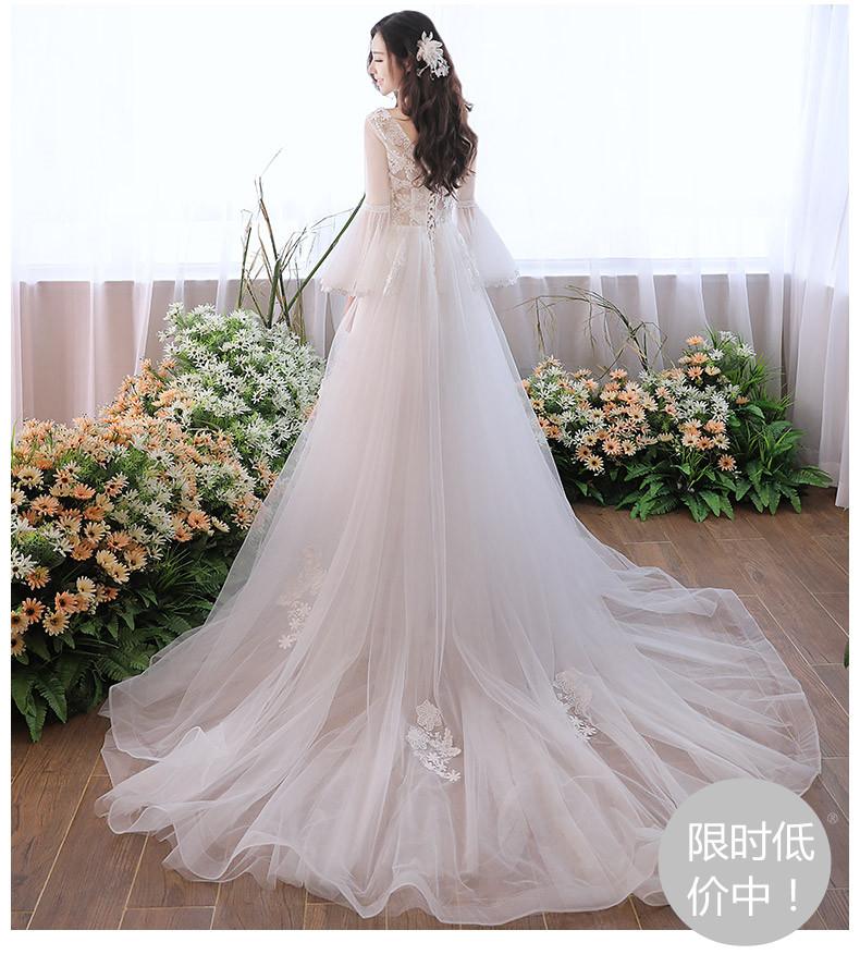 婚纱礼服新款新娘结婚韩版齐地小拖尾轻婚纱森系简约