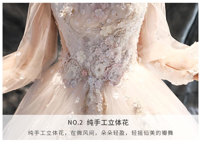 【森系公主】新款纯手工立体花朵长拖尾新娘婚纱礼服
