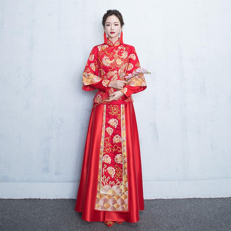 秀禾服新娘新款结婚敬酒服古代复古龙凤褂嫁衣婚纱中式新娘嫁衣