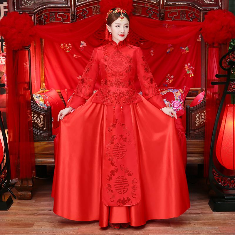 中式婚纱秋冬新款孕妇结婚秀禾服新娘礼服敬酒服古装