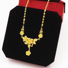 花朵凤凰新娘结婚铜镀越南沙金仿真黄金色民族风和秀服女款项链