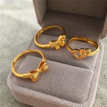 新款包邮越南沙金蝴蝶结戒子女款 24K铜镀金桃心戒指开口久